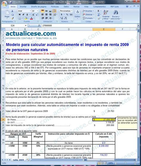 calculo de impuesto de renta colombia base impuesto de renta personas naturales modelos y formatos