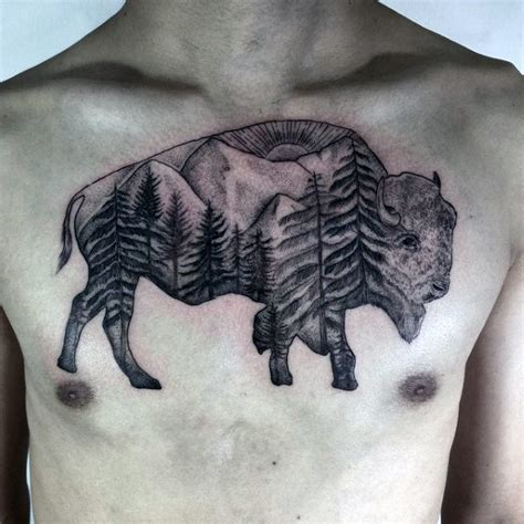 70 bison tattoo designs for men buffalo ink ideas