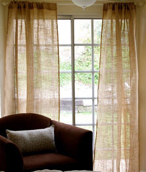 burlap drapery panels burlap window treatments practical and stylish variant