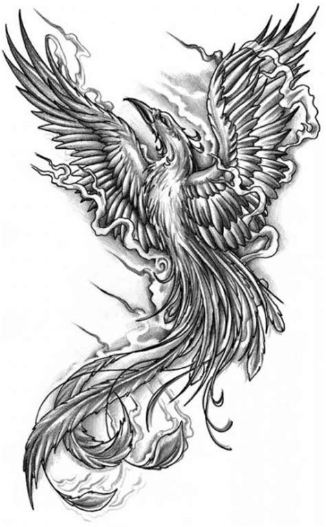 fire phoenix tattoo designs black and grey flying design