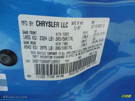 2008 chrysler pt cruiser touring color code photos gtcarlot