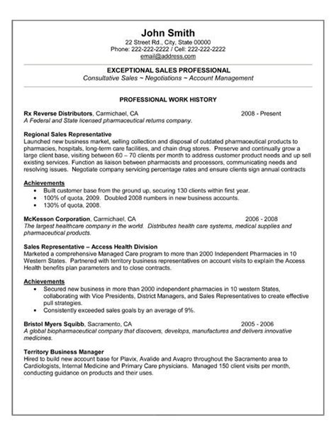 a professional resume format 59 best images about best sales resume templates sles