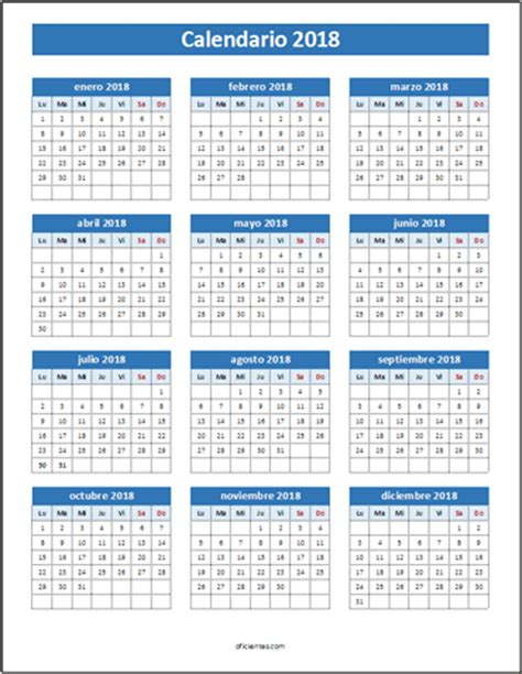 Calendario Anual 2018 Calendarios 2018 En Excel Para Imprimir Y Editables