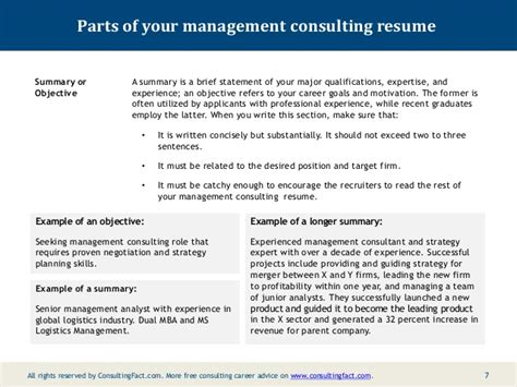 Resume Summary Statement Consultant Management Consulting Resume Sle