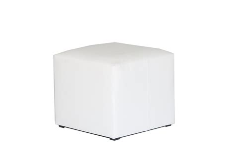 White Leather Cube Stool chair hire fresh event hire
