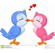 Cartoon Two Love Birds Kissing Stock Vector  Image 50763581