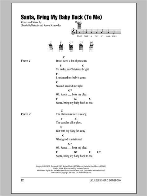 pattern baby lyrics santa bring my baby back to me sheet music direct