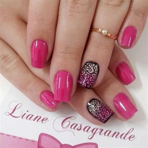 Pink Nail by 50 Beautiful Pink And Black Nail Designs 2017