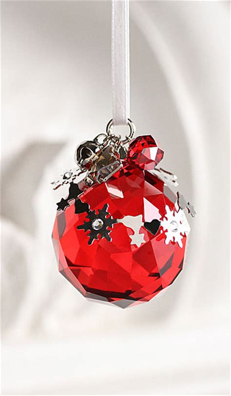 swarovski holiday ball ornament light siam satin 2012