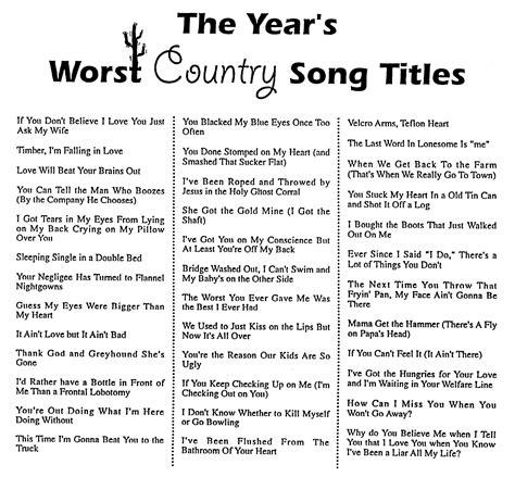 Country Music Names List | year s worst country song titles makes laughing sound