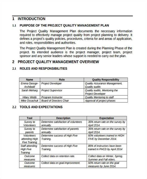 template of quality management plan 47 management plan exles pdf word pages