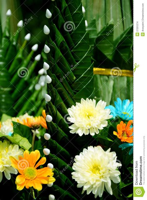 style flower thai style of flower arrangement stock photo image