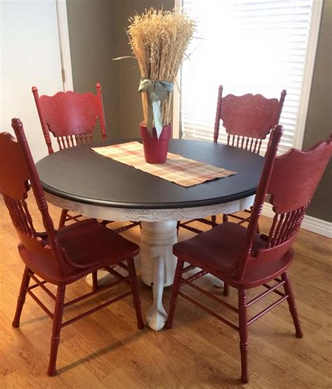 dining set in java gel stain and brick milk paint general finishes design center