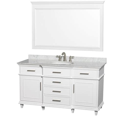 White Vanity Tops by Wyndham Collection Berkeley 60 In Vanity In White With Marble Vanity Top In Carrara White Oval