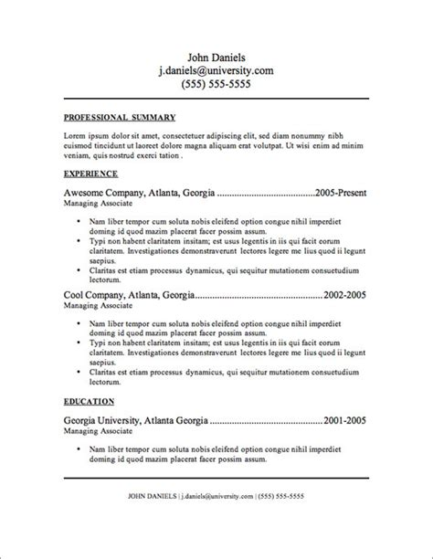 Free Sle Of Resume by My Resume Templates