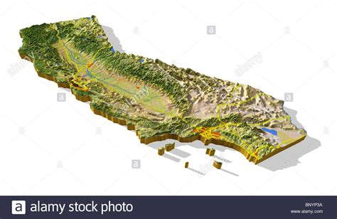 california map relief california 3d relief map cut out with areas and