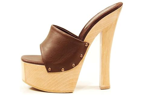 high heel mule shoes soca shoes brown high heel wood platform slip on