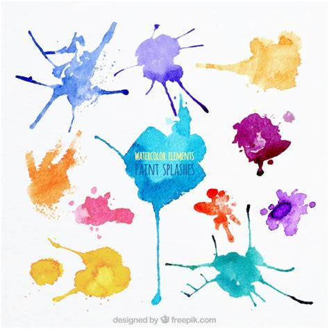 watercolor paint splashes vector free