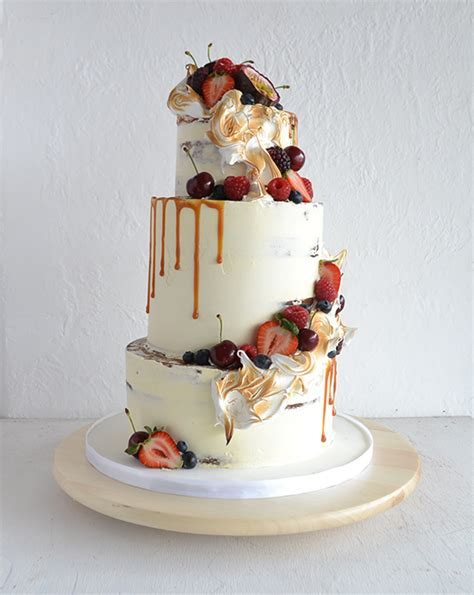 Wedding Cake With Torched Meringue   Image Polka Dot Bride