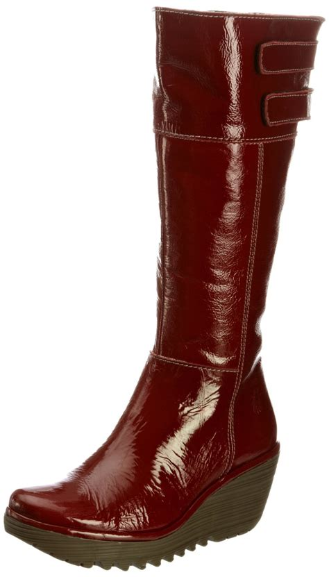 fly womens yush patent new leather boots