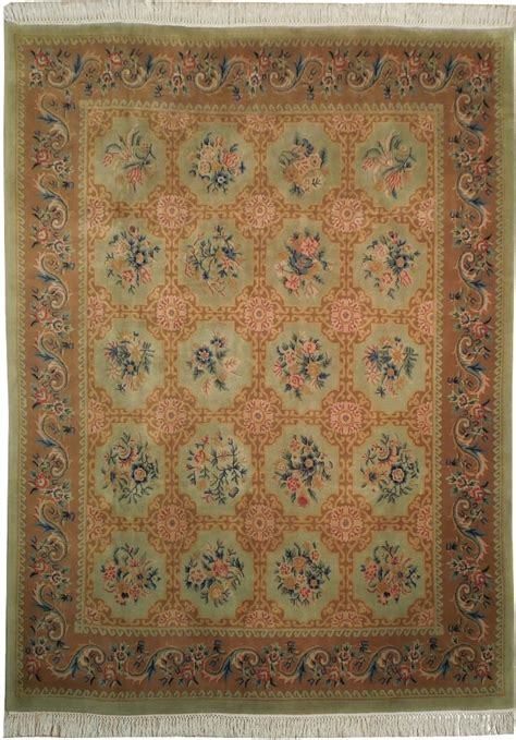 french accent rugs harooni 8x10 coral green french country designer new