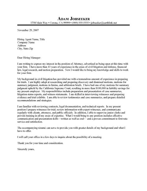 Cover Letter Of An Attorney Junior Attorney Cover Letter Sle Resume Cover Letter