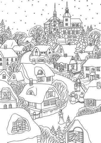 christmas coloring pages activity village snowy village on christmas eve coloring page free