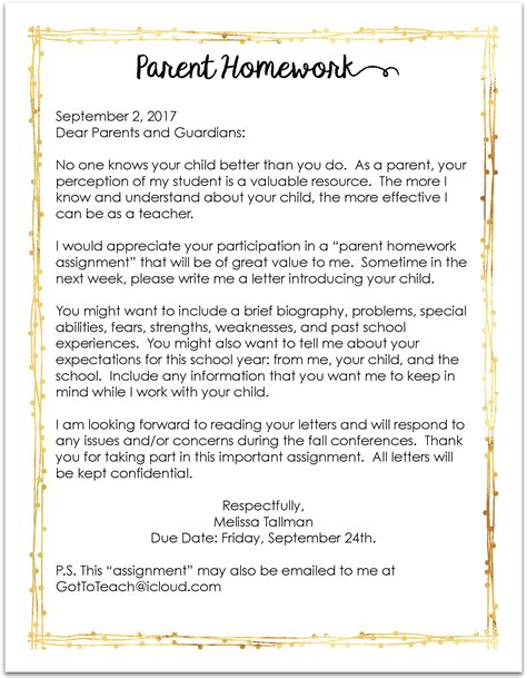 letter to parents template from teachers teachers you must send this letter home on the day
