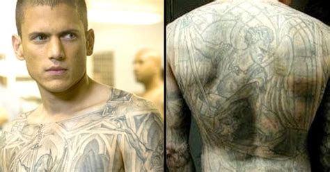 prison break tattoos prison s michael scofield is back and his tattoos
