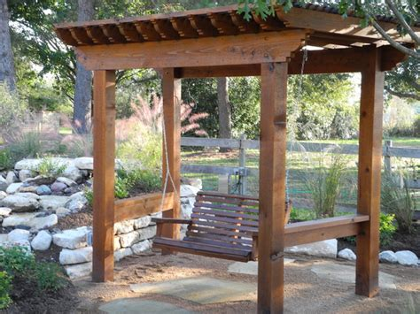 pergola swing pergolas and patio covers eclectic landscape houston