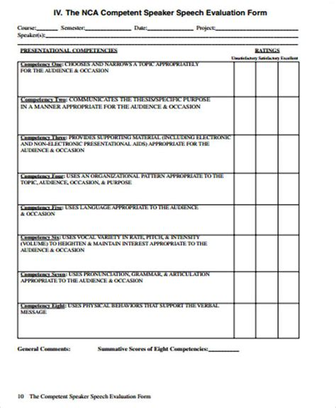 speech evaluation form templates 10 sle speaker evaluation forms sle templates