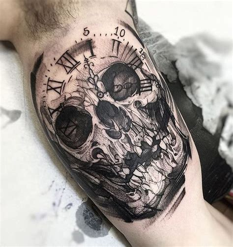 skull and clock tattoo 180 best images about on