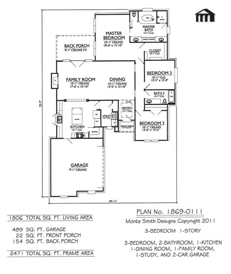 kitchen family room floor plans 1 story 3 bedroom 2 bathroom 1 kitchen 1 dining room