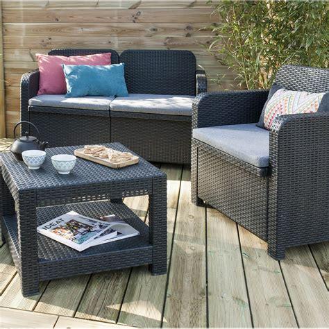 salon de jardin u salon de jardin sorrento grand soleil canap 233 2 fauteuils table anthracite leroy merlin