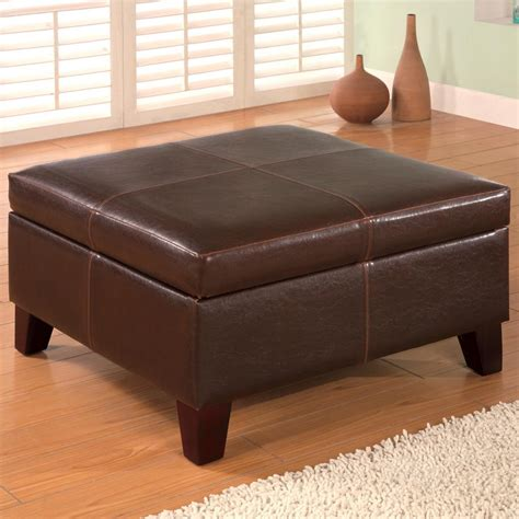 square leather storage ottoman coaster ottomans 501042 contemporary square faux leather