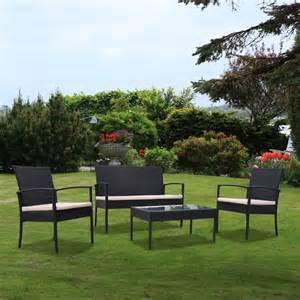 Garden Chair Set Outdoor Garden Patio 4 Cushioned Seat Black Wicker