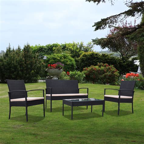 Weatherproof Wicker Patio Furniture Outdoor Garden Patio 4 Cushioned Seat Black Wicker