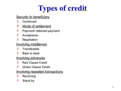 Credit Letter Types Letter Of Credit