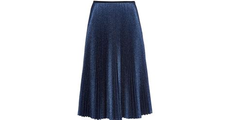 cedric charlier metallic knit pleated midi skirt in blue