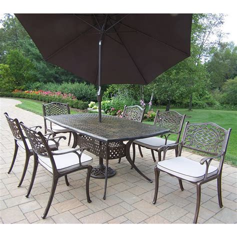 Aluminum Patio Dining Set Shop Oakland Living 7 Mississippi Cushioned Cast Aluminum Patio Dining Set At Lowes