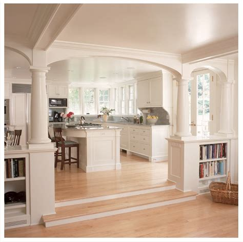 kitchen archway by the front door, with support beams