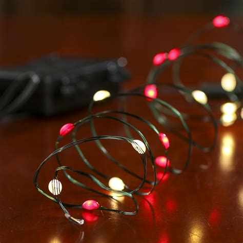 battery operated clear and red bulb green wire led string