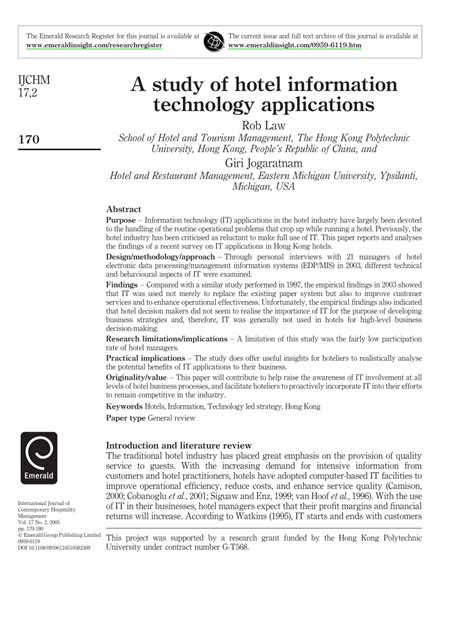 A study of hotel information technology applications (PDF