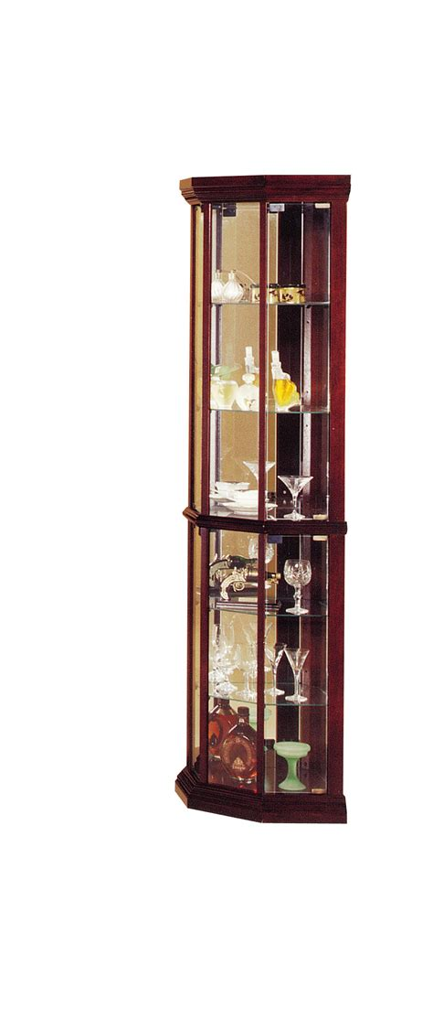 corner cherry finish curio cabinet