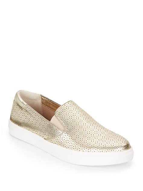 metallic slip on sneakers kenneth cole reaction metallic perforated leather slip on