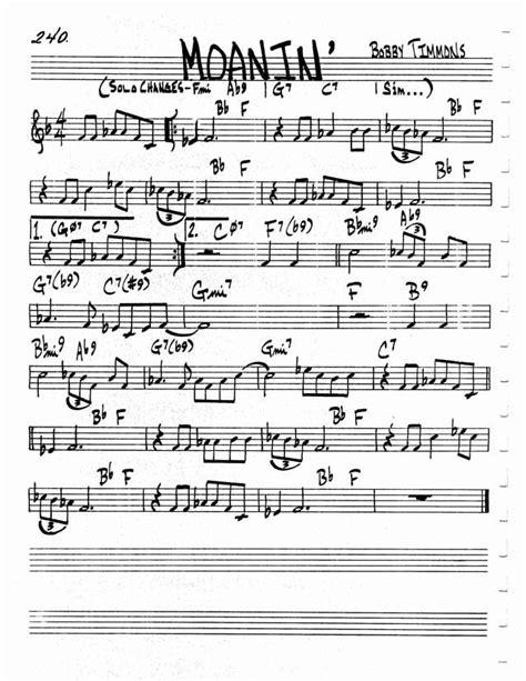 moanin lead sheet jazz standard realbook chart moanin in 2018