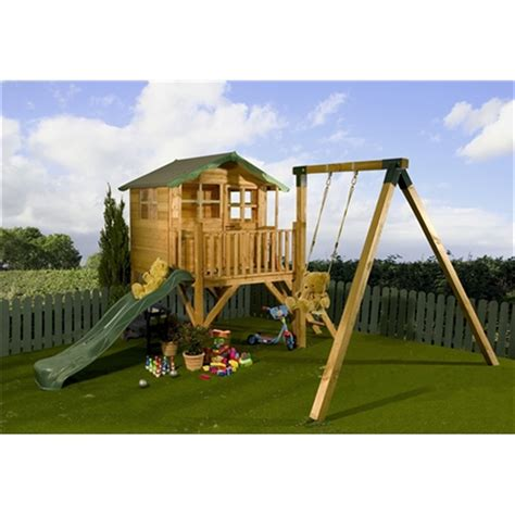 swing with slide 5 x 7 wooden tower playhouse with slide and swing