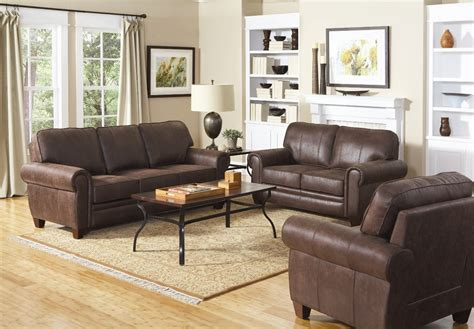 coaster living room furniture bentley brown microfiber rustic style family room sofa set
