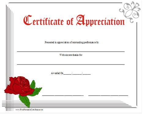 free template for certificate of appreciation free certificate of appreciation new calendar template site