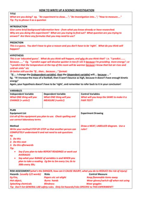 science report template ks2 science investigation writing frame by oldplumtree